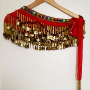 Belly Dance Hip Scarf, Gold Coin Dance Belt - Red